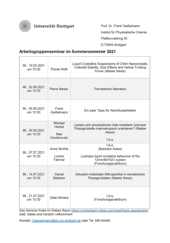 Group seminar summer 2021